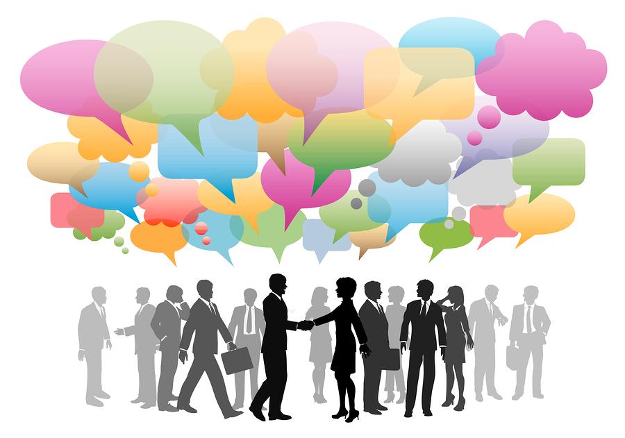 Business social media network speech bubbles company